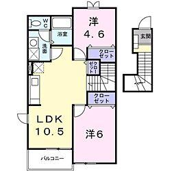 愛知県岡崎市中島町字紅蓮の賃貸アパートの間取り