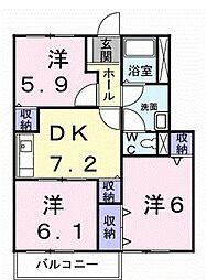 愛知県豊橋市松井町字松井の賃貸アパートの間取り