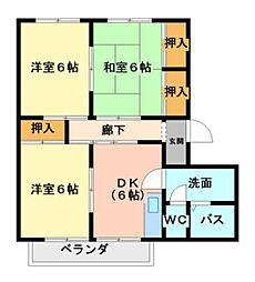 愛知県豊橋市東脇4丁目の賃貸アパートの間取り