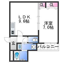 フジパレス田中町II番館 3階1LDKの間取り