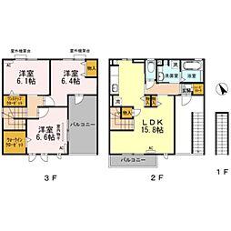 JR東海道本線 豊橋駅 バス17分 三菱レイヨン口下車 徒歩4分の賃貸アパート 2階3LDKの間取り