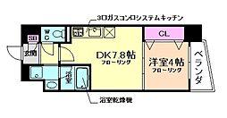 阪急宝塚本線 曽根駅 徒歩9分の賃貸マンション 3階1DKの間取り