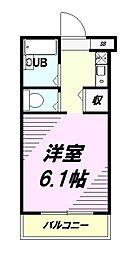 JR中央線 西八王子駅 徒歩3分の賃貸マンション 4階1Kの間取り