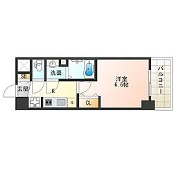 阪神なんば線 九条駅 徒歩5分の賃貸マンション 4階1Kの間取り