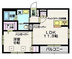 JR常磐線 南千住駅 徒歩17分の賃貸マンション 1階1LDKの間取り