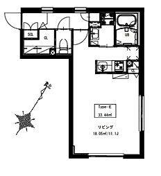 京急本線 北品川駅 徒歩6分の賃貸マンション 2階ワンルームの間取り