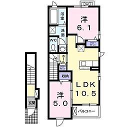エスポワールK&L I 2階2LDKの間取り