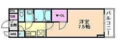 ファーストフィオーレ福島野田II 8階1Kの間取り