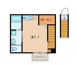 キャメル久米川 2階ワンルームの間取り