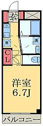 千葉都市モノレール 穴川駅 徒歩6分の賃貸マンション 3階1Kの間取り