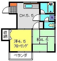 神奈川県横浜市港南区日野南1丁目の賃貸アパートの間取り