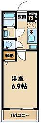 リブリ・AkitsuB 3階1Kの間取り