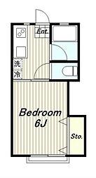 カツザワコーポ A棟[2階]の間取り