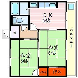 滋賀県彦根市元岡町の賃貸アパートの間取り