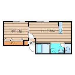 札幌市営東西線 白石駅 徒歩6分の賃貸アパート 2階1DKの間取り