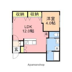 ファーストクラス亀田大月 2階1LDKの間取り