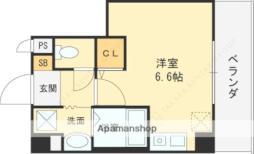 近鉄大阪線 近鉄八尾駅 徒歩7分の賃貸マンション 4階ワンルームの間取り