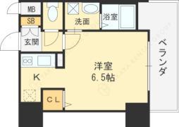 JR大阪環状線 京橋駅 徒歩6分の賃貸マンション 6階ワンルームの間取り