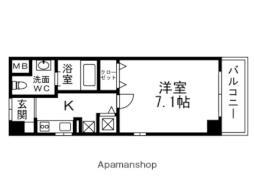 阪急千里線 下新庄駅 徒歩12分の賃貸マンション 2階1Kの間取り