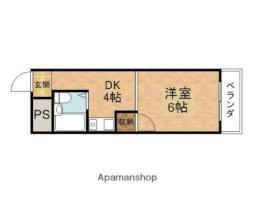 第10シンワマンション 2階1DKの間取り