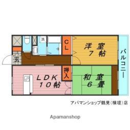 JR片町線(学研都市線) 徳庵駅 徒歩12分の賃貸マンション 5階2LDKの間取り
