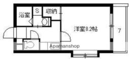 鹿児島市電1系統 鴨池駅 徒歩3分の賃貸マンション 2階1Kの間取り
