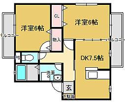 コンクオーレ香ヶ丘B棟[1階]の間取り