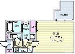 Osaka Metro御堂筋線 本町駅 徒歩4分の賃貸マンション 4階1Kの間取り