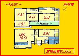 千石6分 2階建て95m2 空室につき即居住可 2方開口 4SLDKの間取り