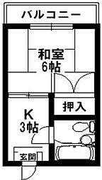 コウワビル[4B号室]の間取り