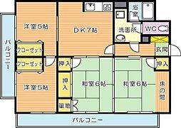 VIVRE黒崎(ヴィブレ黒崎・分譲賃貸)[7階]の間取り