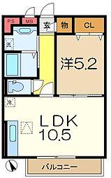 大黒屋ハイツ三番館[1階]の間取り