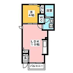 ムーンライト・ガーデンII 1階1LDKの間取り