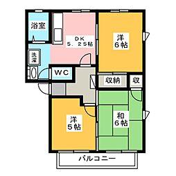 リバーパークB[2階]の間取り