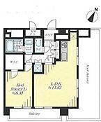 11.6帖の広々としたLDKと6.3帖の洋室の1LDKです。最上階、角部屋なので、2面バルコニーなので開放的な空間となっています。