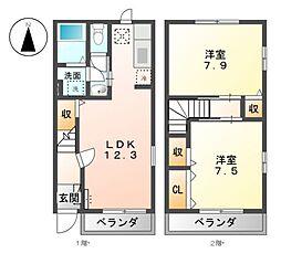 愛知県あま市木田申尾の賃貸アパートの間取り