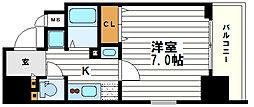 ポルト・ボヌール四天王寺夕陽ケ丘ミラージュ 3階1Kの間取り