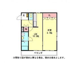 愛知県一宮市馬見塚字郷内の賃貸アパートの間取り
