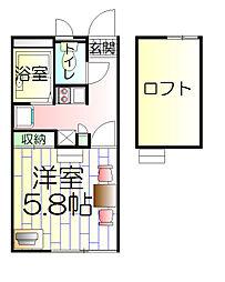 神奈川県藤沢市白旗1丁目の賃貸アパートの間取り