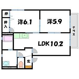 シャトーサンク[1階]の間取り
