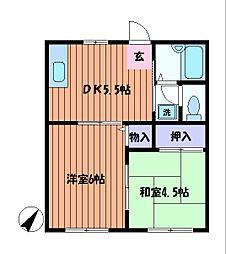 フラワーハイツ B棟[2階]の間取り