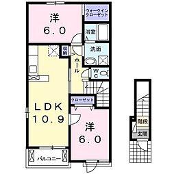 鹿児島県日置市伊集院町下神殿の賃貸アパート 2階2LDKの間取り