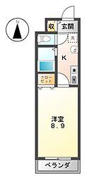 愛知県あま市木田東の賃貸アパートの間取り