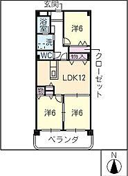 マンションピースフル[3階]の間取り