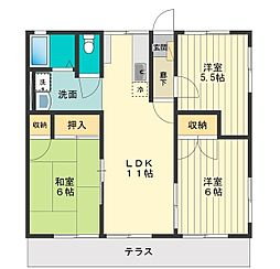 東京都小平市学園西町1丁目の賃貸アパートの間取り