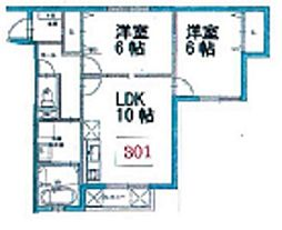 富士林プラザ11番館[301号室]の間取り