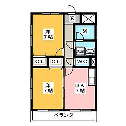 ベルシティ石川[4階]の間取り