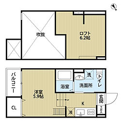 兵庫県尼崎市東本町2丁目の賃貸アパートの間取り