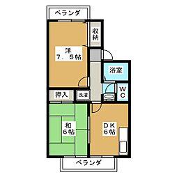 京都府京都市北区西賀茂北川上町の賃貸アパートの間取り