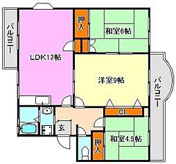 横尾2団地86号棟[3階]の間取り